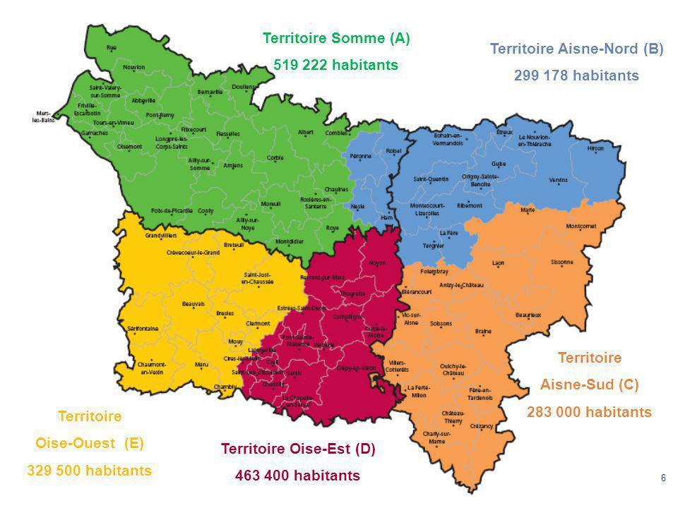 6 Territoire Somme (A) 519 222 habitants Territoire Aisne-Nord (B) 299 178 habitants Territoire Oise-Est (D) 463 400 habitants Territoire Aisne-Sud (C) 283 000 habitants Territoire Oise-Ouest (E) 329 500 habitants