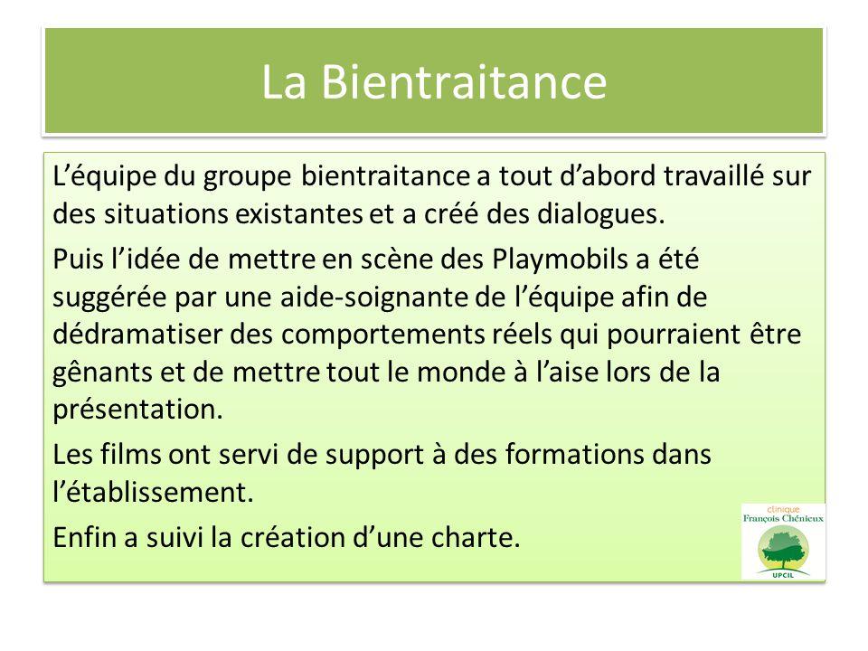 La Bientraitance Léquipe du groupe bientraitance a tout dabord travaillé sur des situations existantes et a créé des dialogues. Puis lidée de mettre e