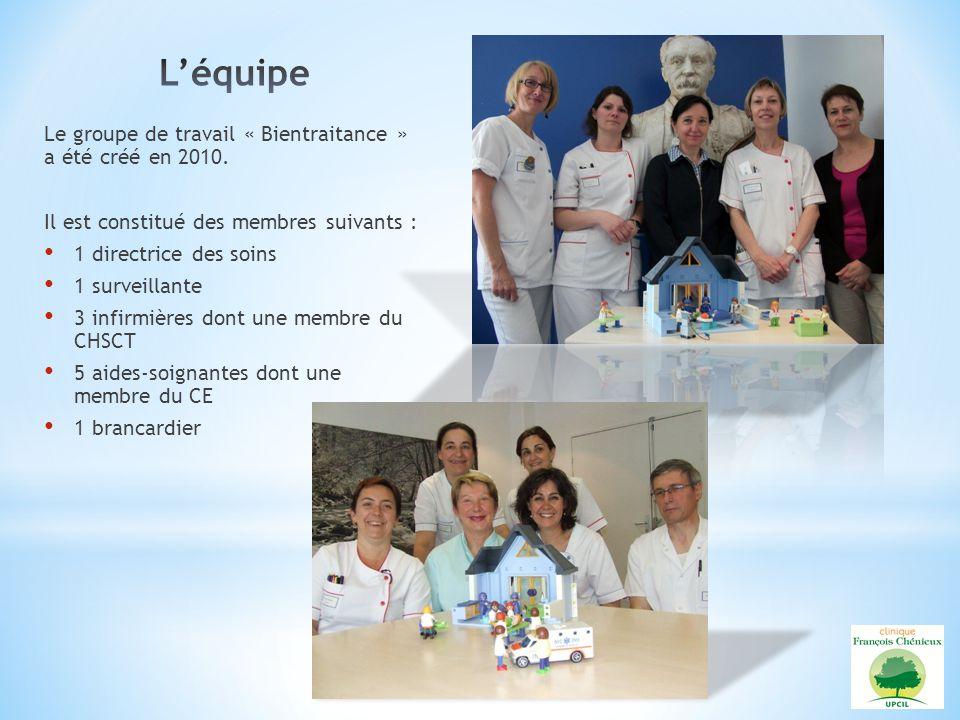 Le groupe de travail « Bientraitance » a été créé en 2010. Il est constitué des membres suivants : 1 directrice des soins 1 surveillante 3 infirmières