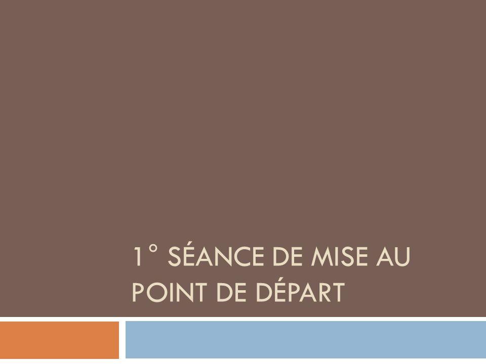 1° SÉANCE DE MISE AU POINT DE DÉPART