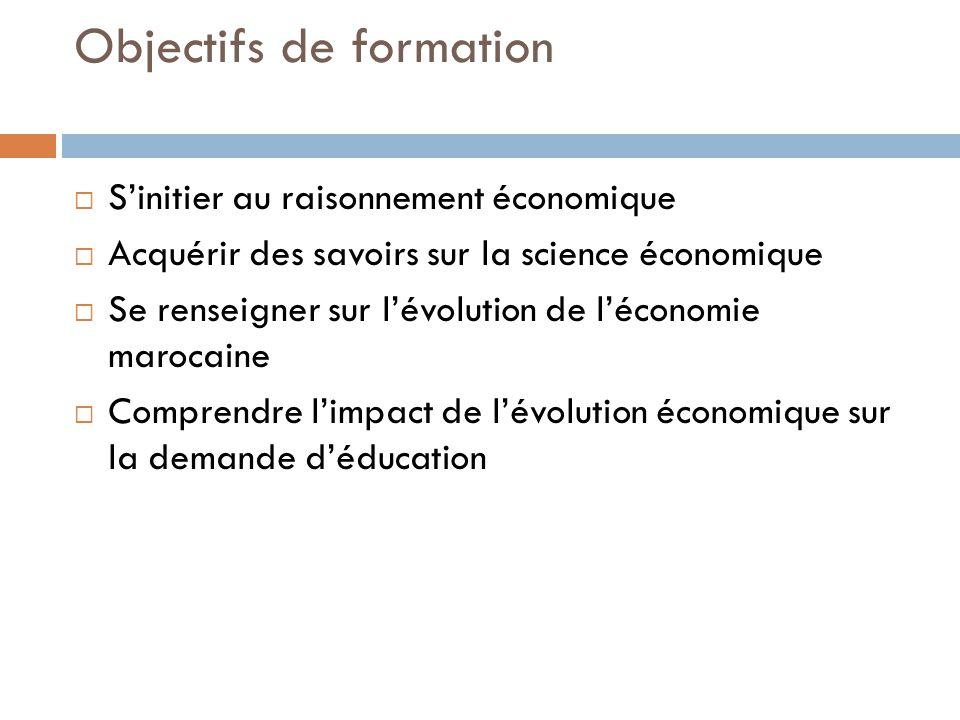 Objectifs de formation Sinitier au raisonnement économique Acquérir des savoirs sur la science économique Se renseigner sur lévolution de léconomie marocaine Comprendre limpact de lévolution économique sur la demande déducation