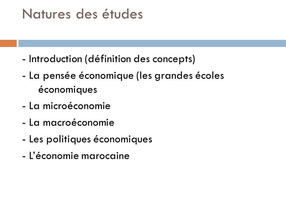 Natures des études - Introduction (définition des concepts) - La pensée économique (les grandes écoles économiques - La microéconomie - La macroéconomie - Les politiques économiques - Léconomie marocaine