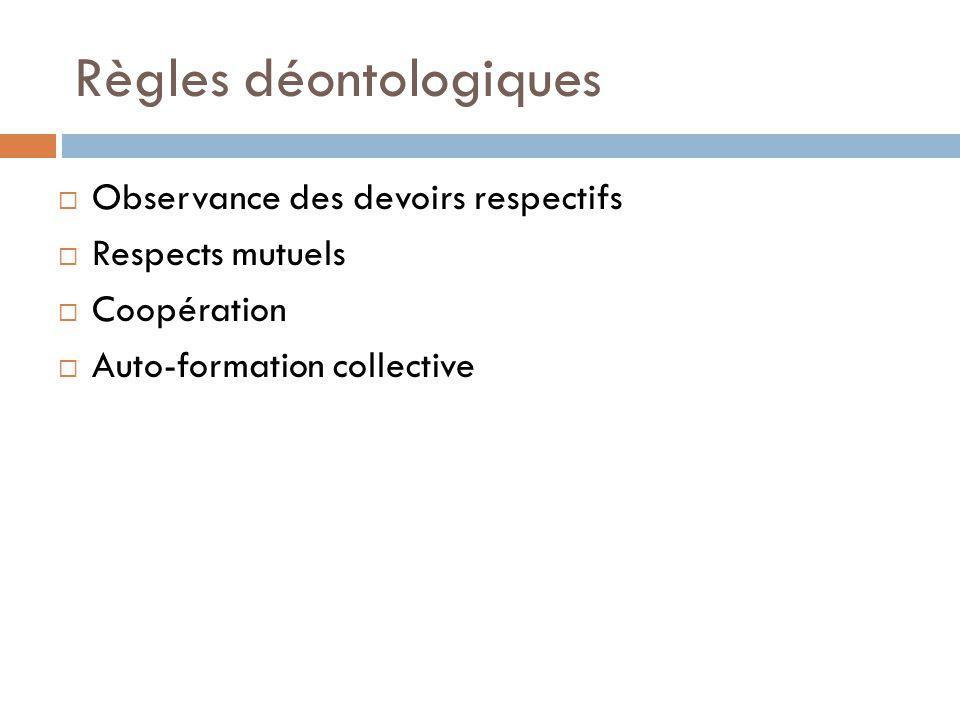 Règles déontologiques Observance des devoirs respectifs Respects mutuels Coopération Auto-formation collective