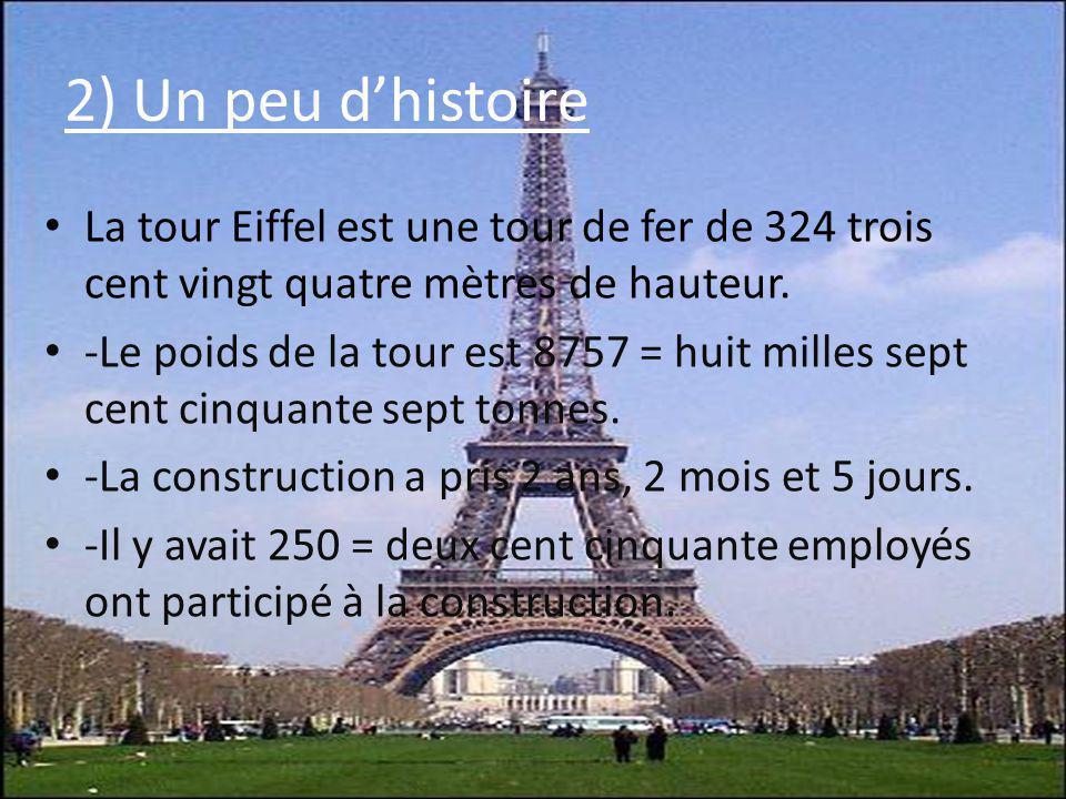 La tour Eiffel est une tour de fer de 324 trois cent vingt quatre mètres de hauteur. -Le poids de la tour est 8757 = huit milles sept cent cinquante s