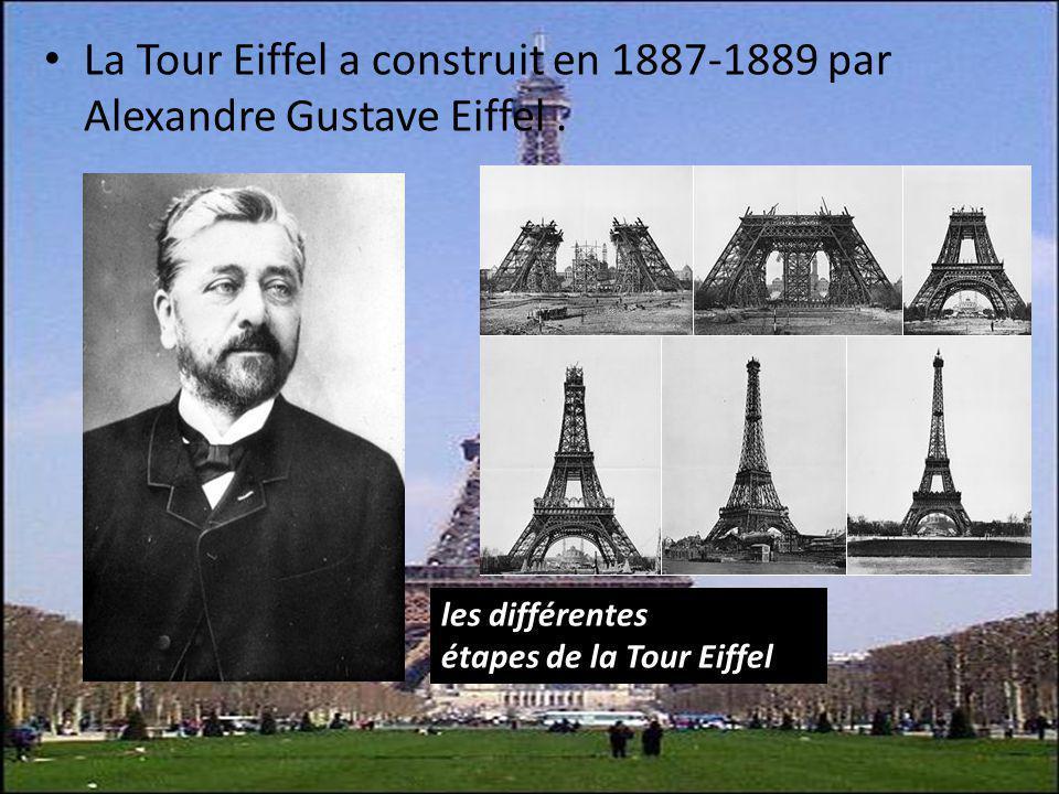 La Tour Eiffel a construit en 1887-1889 par Alexandre Gustave Eiffel. les différentes étapes de la Tour Eiffel