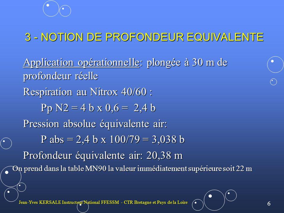 6 Jean-Yves KERSALE Instructeur National FFESSM - CTR Bretagne et Pays de la Loire 3 - NOTION DE PROFONDEUR EQUIVALENTE Application opérationnelle: plongée à 30 m de profondeur réelle Respiration au Nitrox 40/60 : Pp N2 = 4 b x 0,6 = 2,4 b Pression absolue équivalente air: P abs = 2,4 b x 100/79 = 3,038 b Profondeur équivalente air: 20,38 m On prend dans la table MN90 la valeur immédiatement supérieure soit 22 m