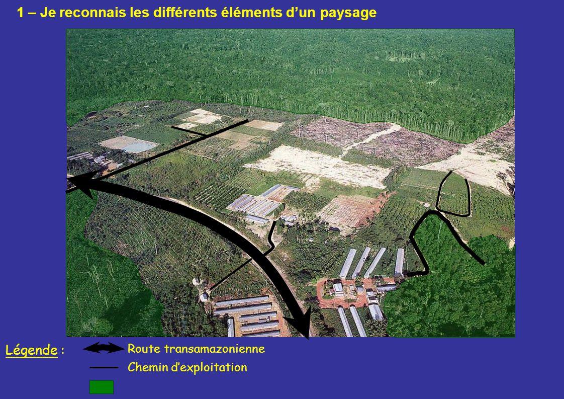 Route transamazonienne Légende : Chemin dexploitation 1 – Je reconnais les différents éléments dun paysage
