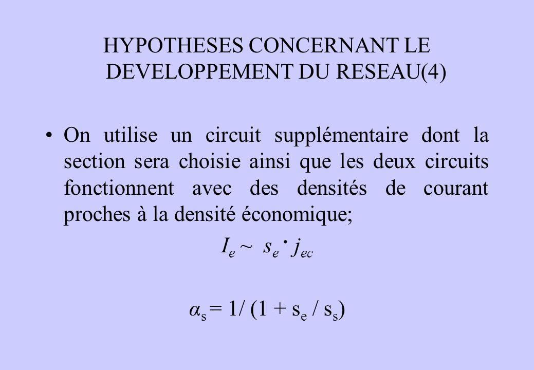HYPOTHESES CONCERNANT LE DEVELOPPEMENT DU RESEAU(4) On utilise un circuit supplémentaire dont la section sera choisie ainsi que les deux circuits fonctionnent avec des densités de courant proches à la densité économique; I e ~ s e.