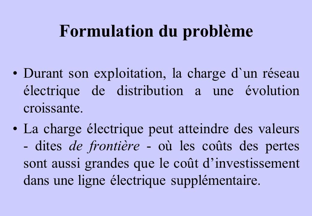 Formulation du problème Durant son exploitation, la charge d`un réseau électrique de distribution a une évolution croissante.