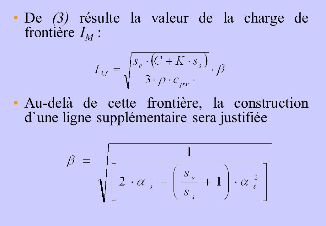 De (3) résulte la valeur de la charge de frontière I M : Au-delà de cette frontière, la construction d`une ligne supplémentaire sera justifiée