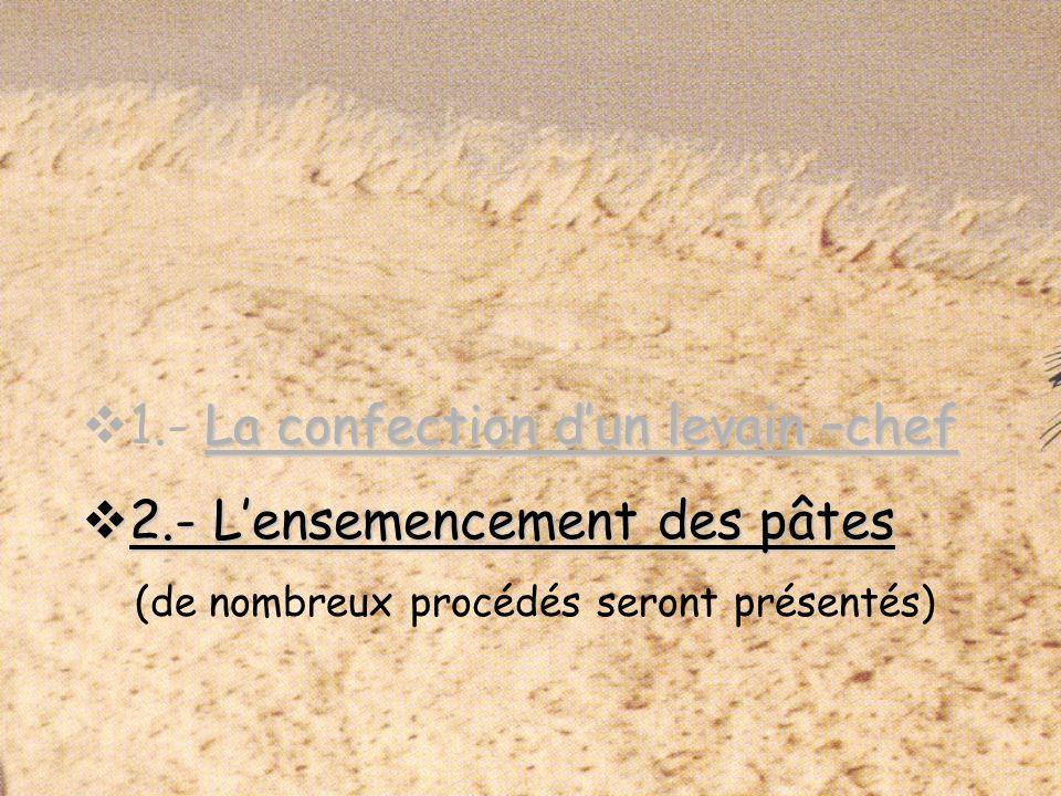 2.- Lensemencement des pâtes 2.- Lensemencement des pâtes (de nombreux procédés seront présentés)
