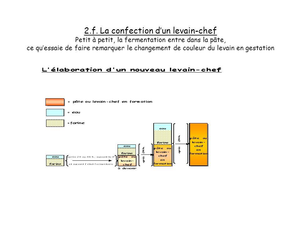2.e. La confection dun levain-chef En doublant à chaque fois la part de pâte obtenue par le même volume deau et de farine, on active la fermentation n