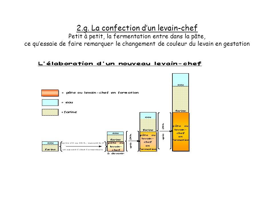 2.f. La confection dun levain-chef Petit à petit, la fermentation entre dans la pâte, ce quessaie de faire remarquer le changement de couleur du levai
