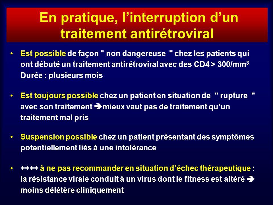 En pratique, linterruption dun traitement antirétroviral Est possible de façon