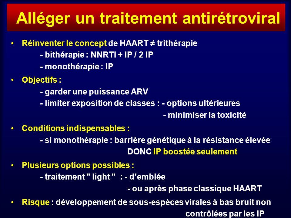 Réinventer le concept de HAART trithérapie - bithérapie : NNRTI + IP / 2 IP - monothérapie : IP Objectifs : - garder une puissance ARV - limiter exposition de classes : - options ultérieures - minimiser la toxicité Conditions indispensables : - si monothérapie : barrière génétique à la résistance élevée DONC IP boostée seulement Plusieurs options possibles : - traitement light : - demblée - ou après phase classique HAART Risque : développement de sous-espèces virales à bas bruit non contrôlées par les IP