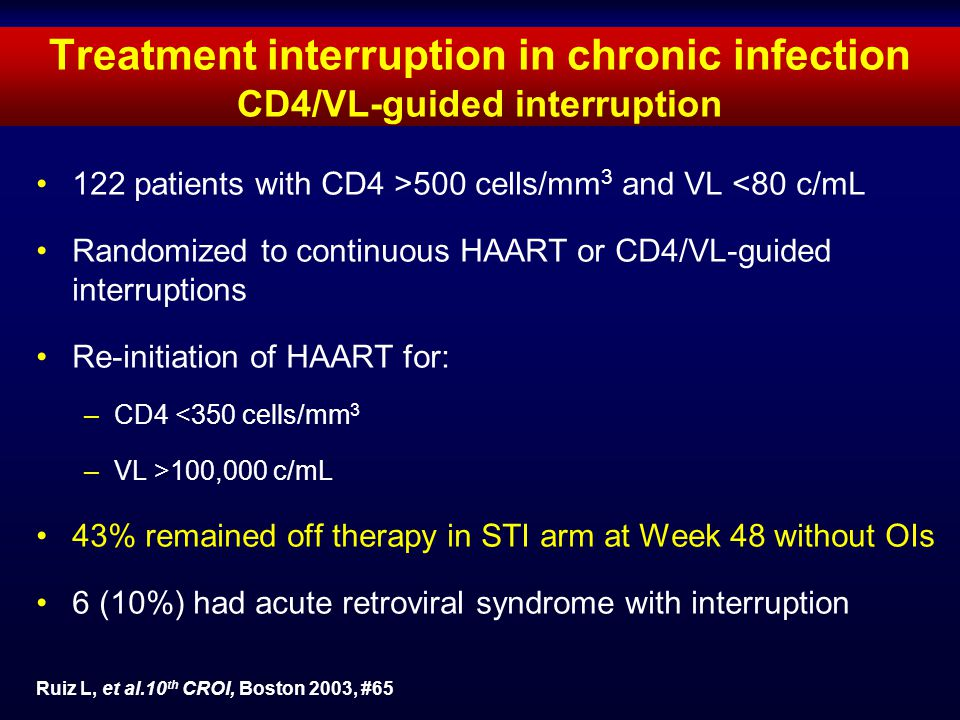 Treatment interruption in chronic infection CD4/VL-guided interruption 122 patients with CD4 >500 cells/mm 3 and VL <80 c/mL Randomized to continuous