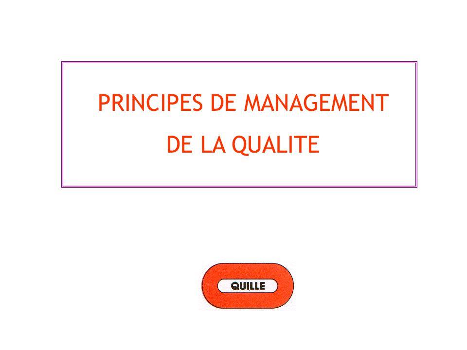 Principe 1 - Orientation client Principe 2 -Leadership Principe 3 -Implication Principe 4 -Approche processus Principe 5 -Management par approche système Principe 6 -Amélioration continue Principe 7 -Approche factuelle pour la prise de décision Principe 8 -Relations mutuellement bénéfiques avec les fournisseurs