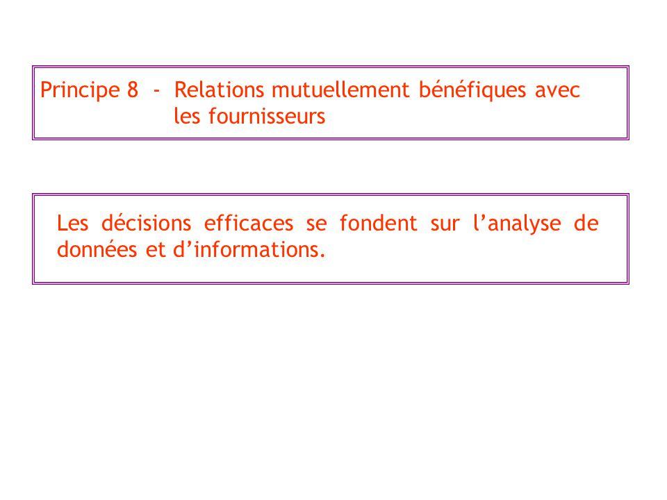 Principe 8 - Relations mutuellement bénéfiques avec les fournisseurs Les décisions efficaces se fondent sur lanalyse de données et dinformations.