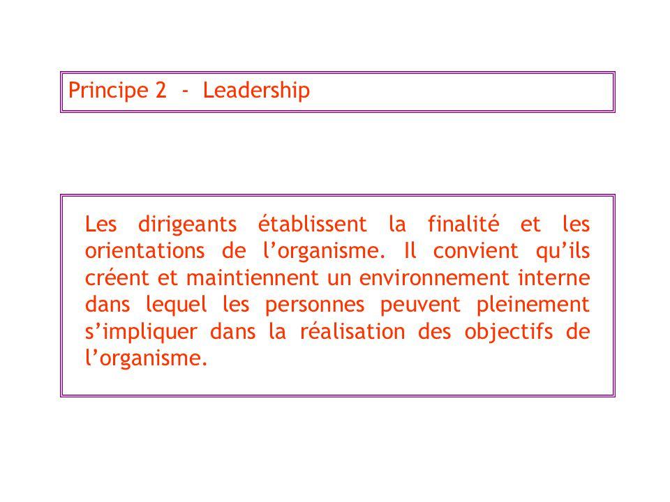 Principe 2 - Leadership Les dirigeants établissent la finalité et les orientations de lorganisme. Il convient quils créent et maintiennent un environn