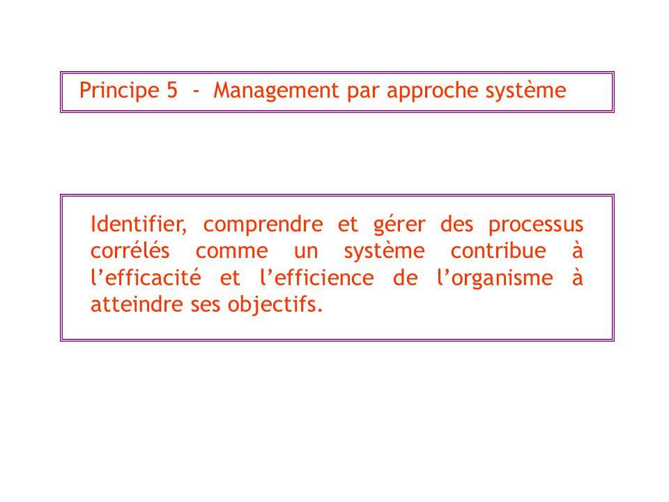 Principe 5 - Management par approche système Identifier, comprendre et gérer des processus corrélés comme un système contribue à lefficacité et lefficience de lorganisme à atteindre ses objectifs.