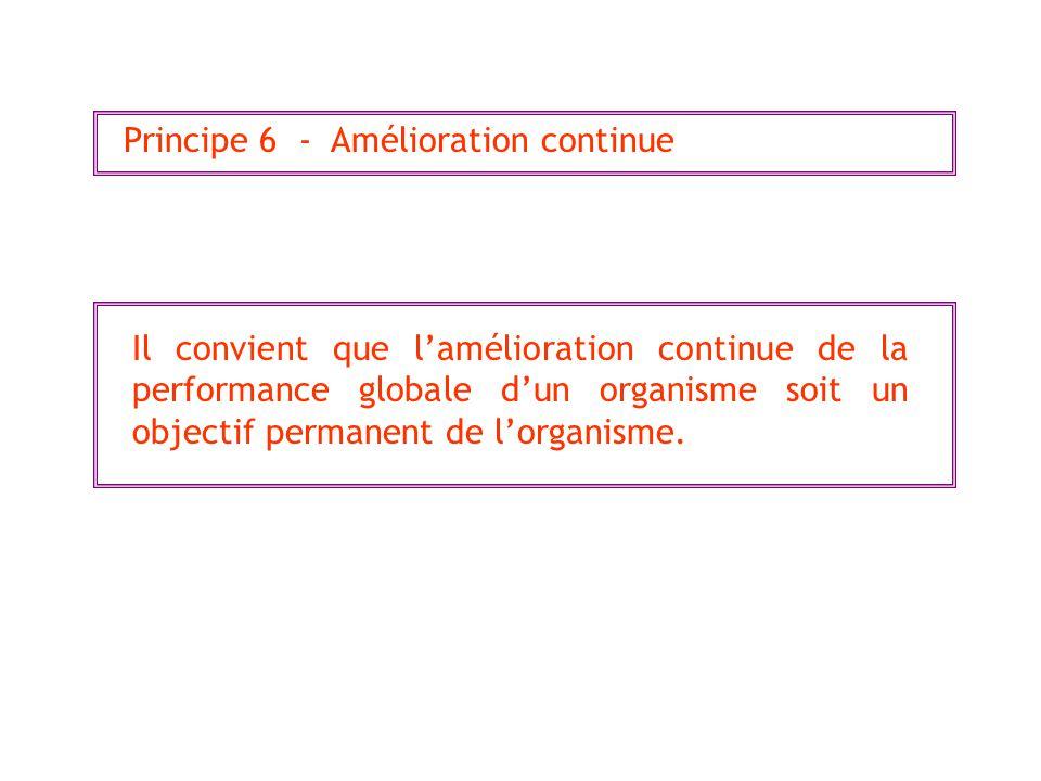 Principe 6 - Amélioration continue Il convient que lamélioration continue de la performance globale dun organisme soit un objectif permanent de lorganisme.