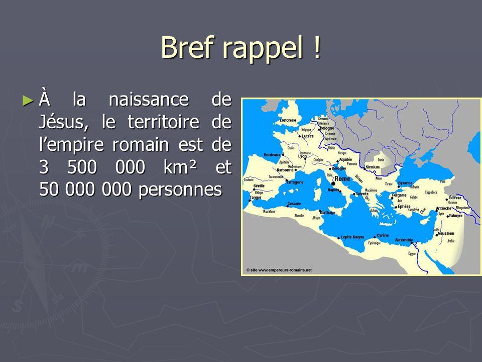 Bref rappel ! À la naissance de Jésus, le territoire de lempire romain est de 3 500 000 km² et 50 000 000 personnes À la naissance de Jésus, le territ