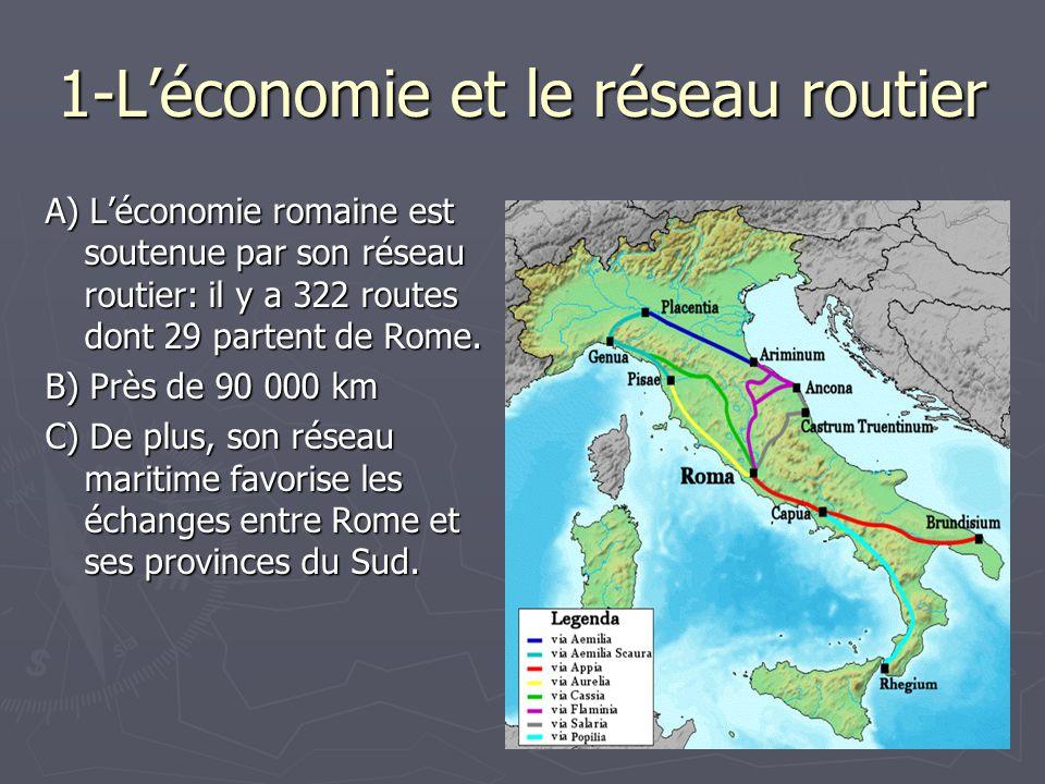 1-Léconomie et le réseau routier A) Léconomie romaine est soutenue par son réseau routier: il y a 322 routes dont 29 partent de Rome. B) Près de 90 00