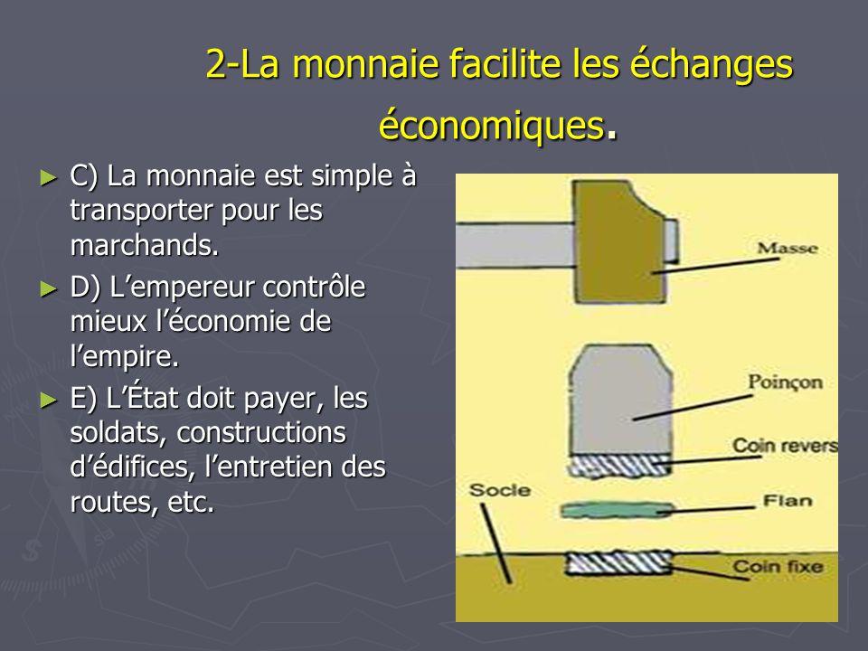 2-La monnaie facilite les échanges économiques. C) La monnaie est simple à transporter pour les marchands. C) La monnaie est simple à transporter pour