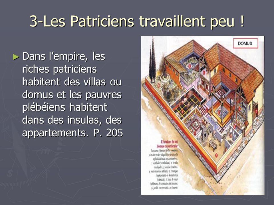 3-Les Patriciens travaillent peu ! Dans lempire, les riches patriciens habitent des villas ou domus et les pauvres plébéiens habitent dans des insulas