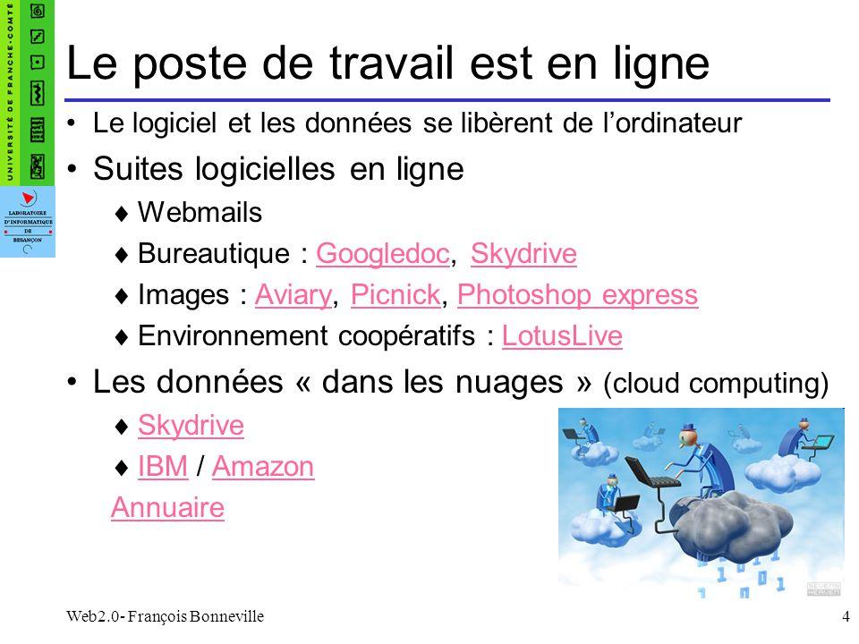 Web2.0- François Bonneville4 Le poste de travail est en ligne Le logiciel et les données se libèrent de lordinateur Suites logicielles en ligne Webmai