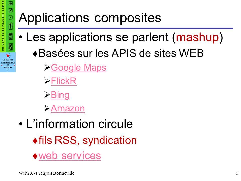 Web2.0- François Bonneville5 Applications composites Les applications se parlent (mashup) Basées sur les APIS de sites WEB Google Maps FlickR Bing Ama