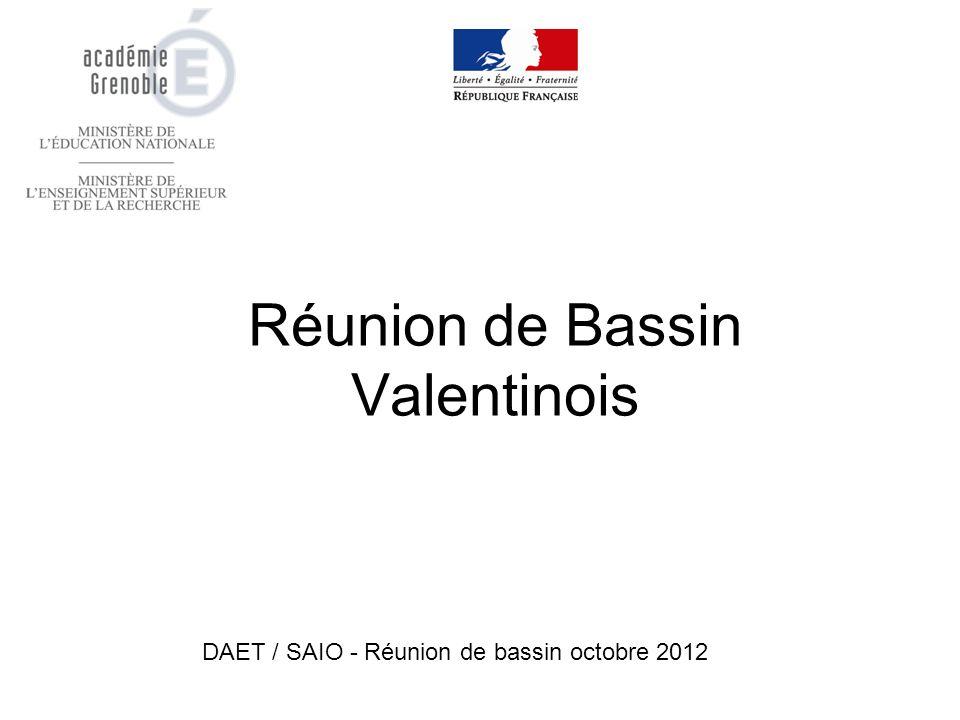 Réunion de Bassin Valentinois DAET / SAIO - Réunion de bassin octobre 2012