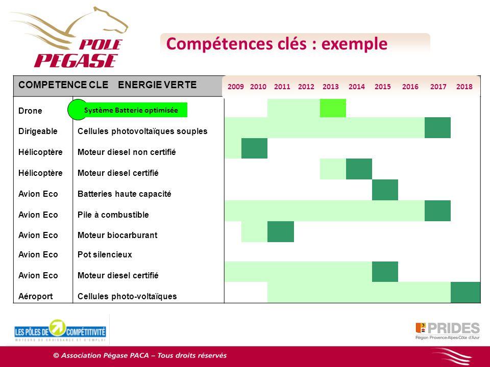 Compétences clés : exemple COMPETENCE CLE ENERGIE VERTE DroneBatteries intégrées 00 DirigeableCellules photovoltaïques souples 000000001 HélicoptèreMo