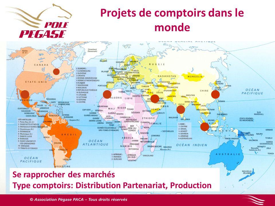 Projets de comptoirs dans le monde Se rapprocher des marchés Type comptoirs: Distribution Partenariat, Production
