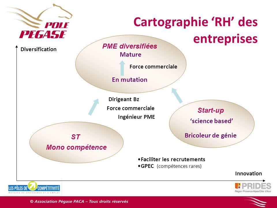 PEGASE en synthèse Diversification PME diversifiées Mature En mutation Cartographie RH des entreprises Force commerciale ST Mono compétence Start-up s