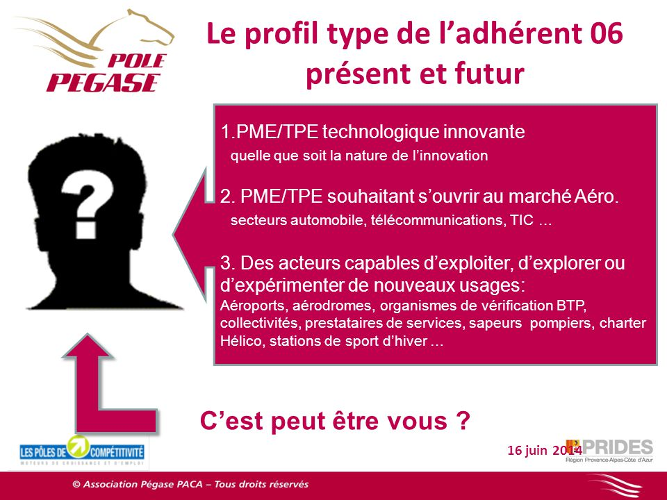 Le profil type de ladhérent 06 présent et futur 16 juin 2014 1.PME/TPE technologique innovante quelle que soit la nature de linnovation 2.