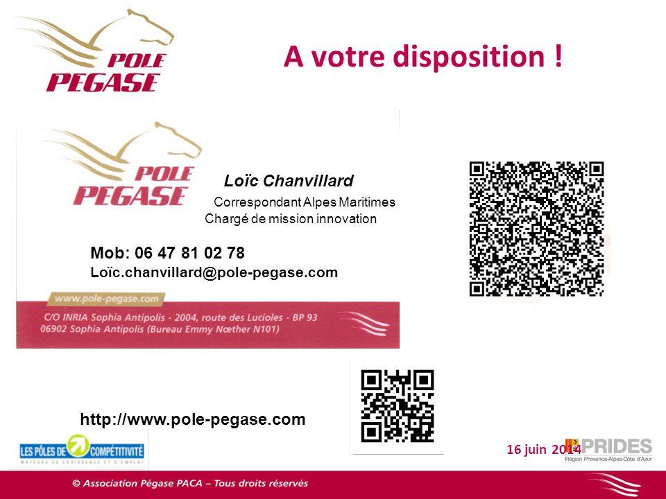 A votre disposition ! 16 juin 2014 Loïc Chanvillard Correspondant Alpes Maritimes Chargé de mission innovation Mob: 06 47 81 02 78 Loïc.chanvillard@po