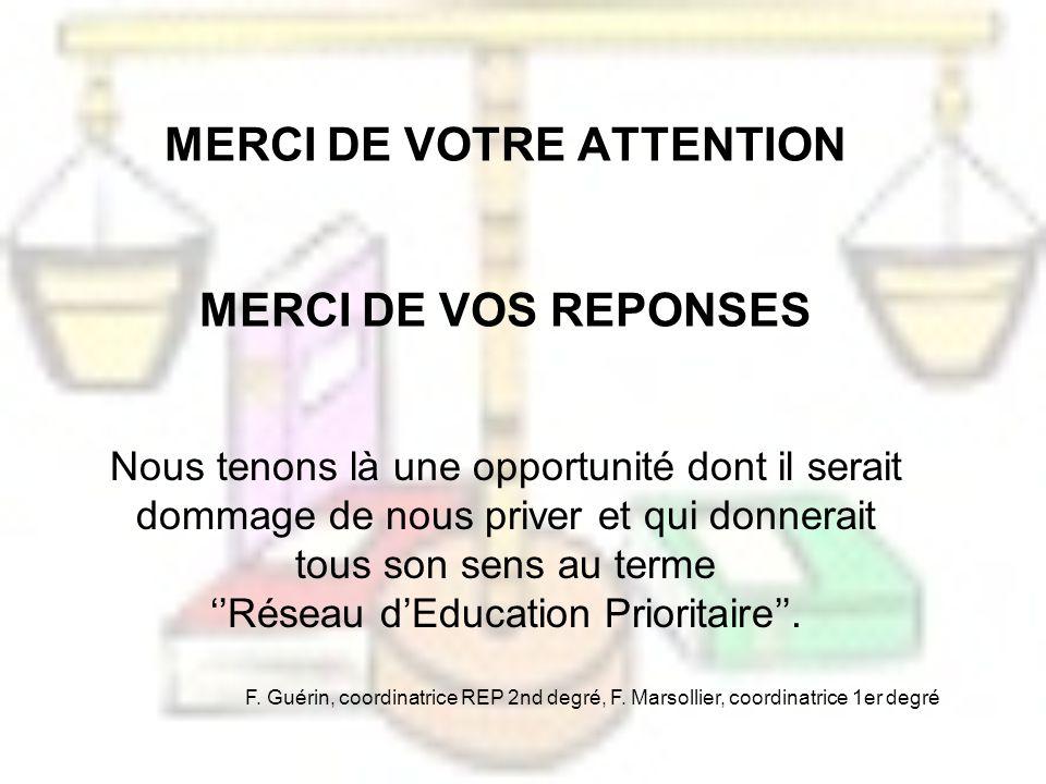 MERCI DE VOTRE ATTENTION MERCI DE VOS REPONSES Nous tenons là une opportunité dont il serait dommage de nous priver et qui donnerait tous son sens au terme Réseau dEducation Prioritaire.