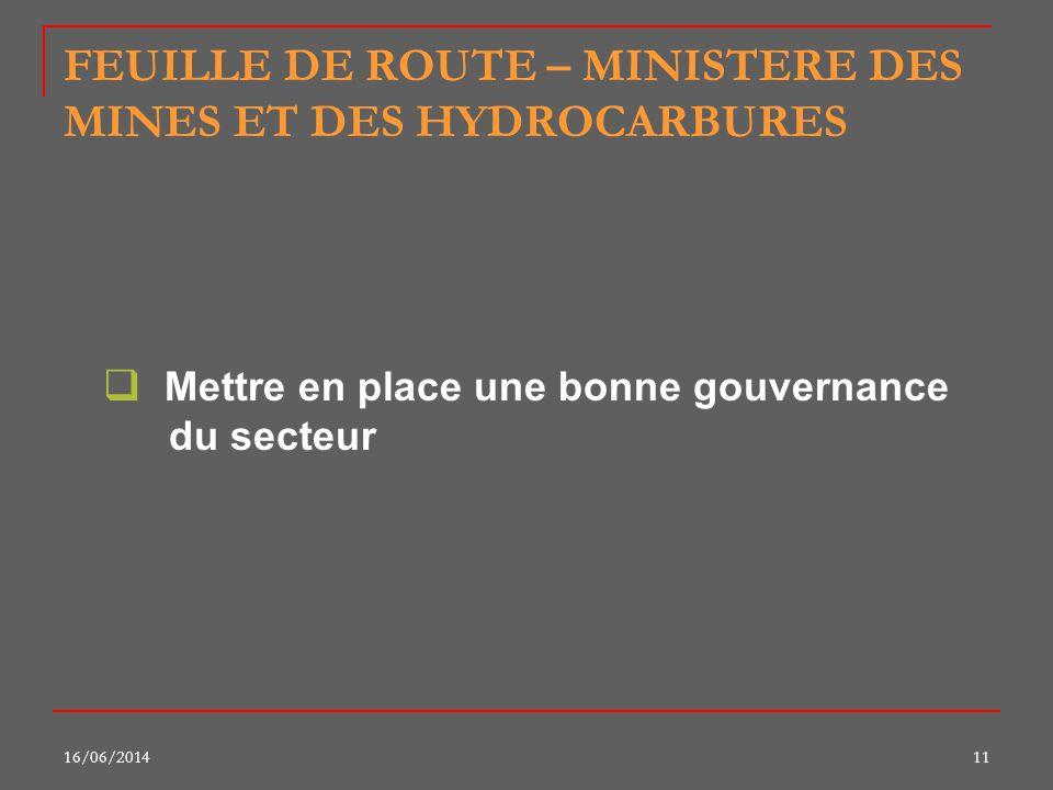 16/06/201411 FEUILLE DE ROUTE – MINISTERE DES MINES ET DES HYDROCARBURES Mettre en place une bonne gouvernance du secteur