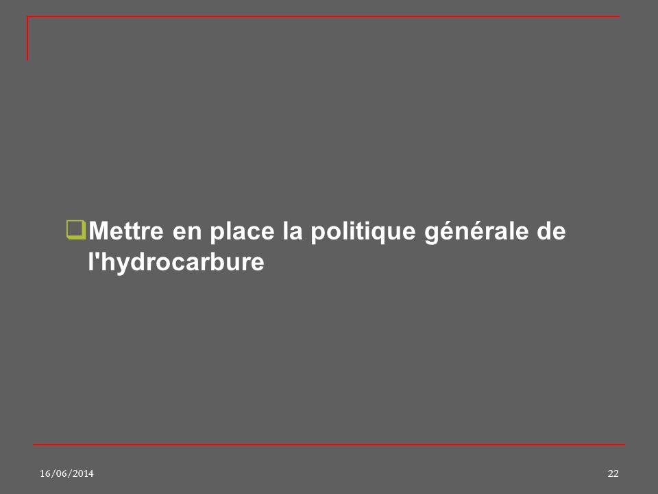 16/06/201422 Mettre en place la politique générale de l'hydrocarbure