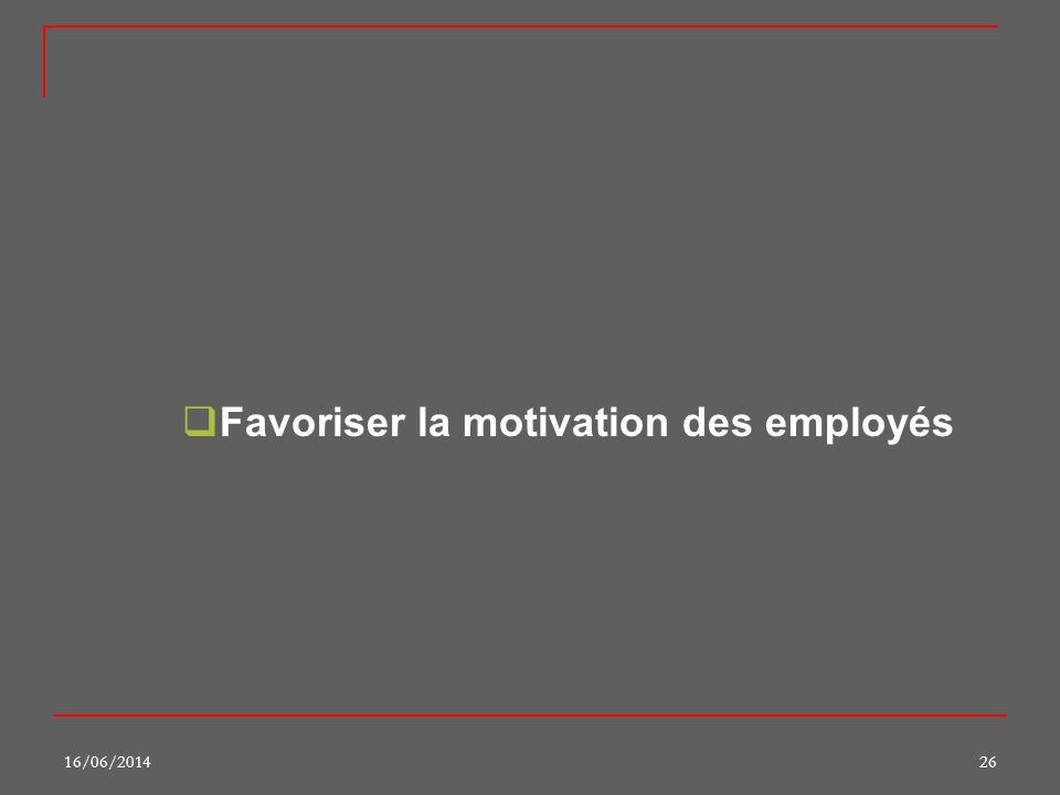 16/06/201426 Favoriser la motivation des employés