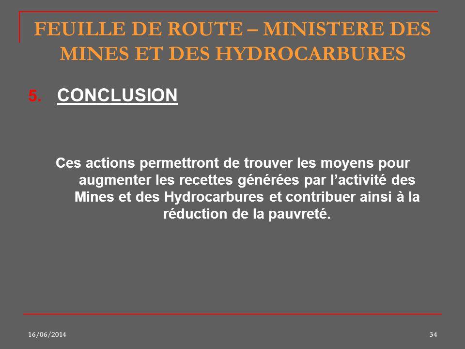 16/06/201434 FEUILLE DE ROUTE – MINISTERE DES MINES ET DES HYDROCARBURES 5. CONCLUSION Ces actions permettront de trouver les moyens pour augmenter le