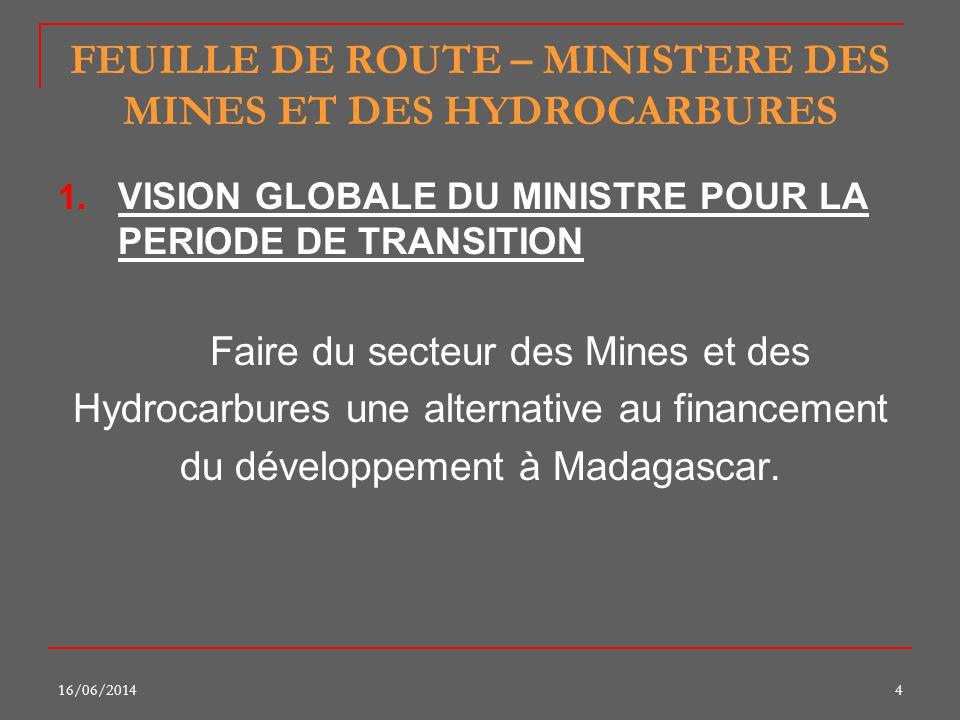 16/06/20144 FEUILLE DE ROUTE – MINISTERE DES MINES ET DES HYDROCARBURES 1. VISION GLOBALE DU MINISTRE POUR LA PERIODE DE TRANSITION Faire du secteur d
