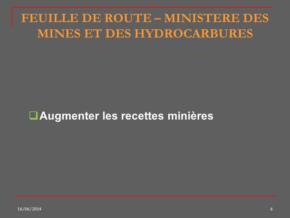 FEUILLE DE ROUTE – MINISTERE DES MINES ET DES HYDROCARBURES Augmenter les recettes minières 16/06/20146