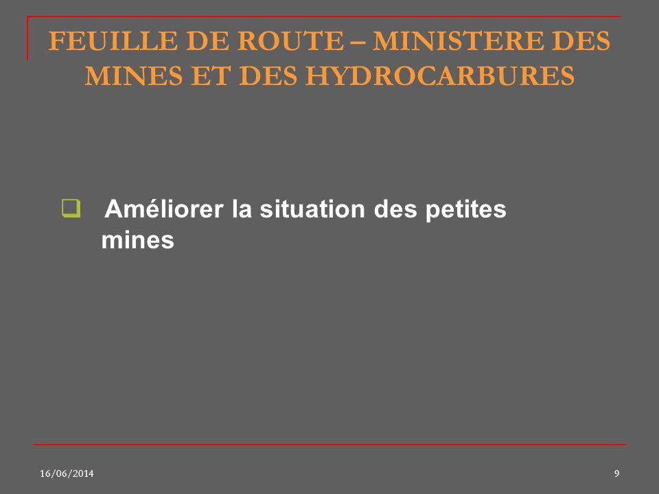 16/06/20149 FEUILLE DE ROUTE – MINISTERE DES MINES ET DES HYDROCARBURES Améliorer la situation des petites mines