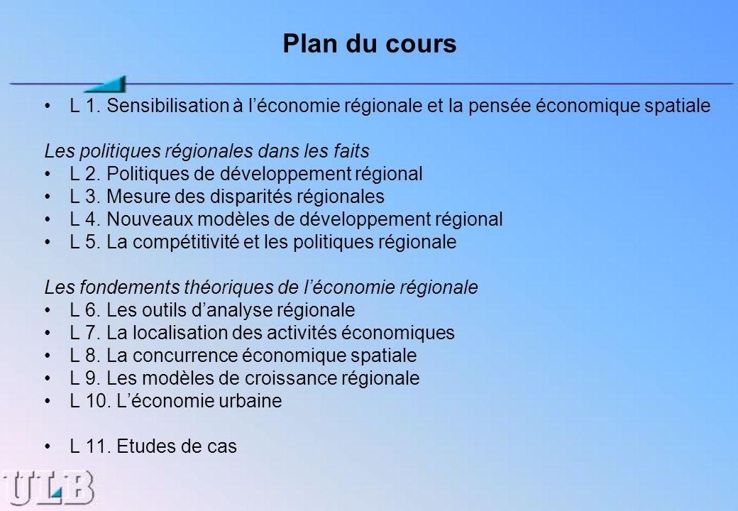 Plan du cours L 1. Sensibilisation à léconomie régionale et la pensée économique spatiale Les politiques régionales dans les faits L 2. Politiques de