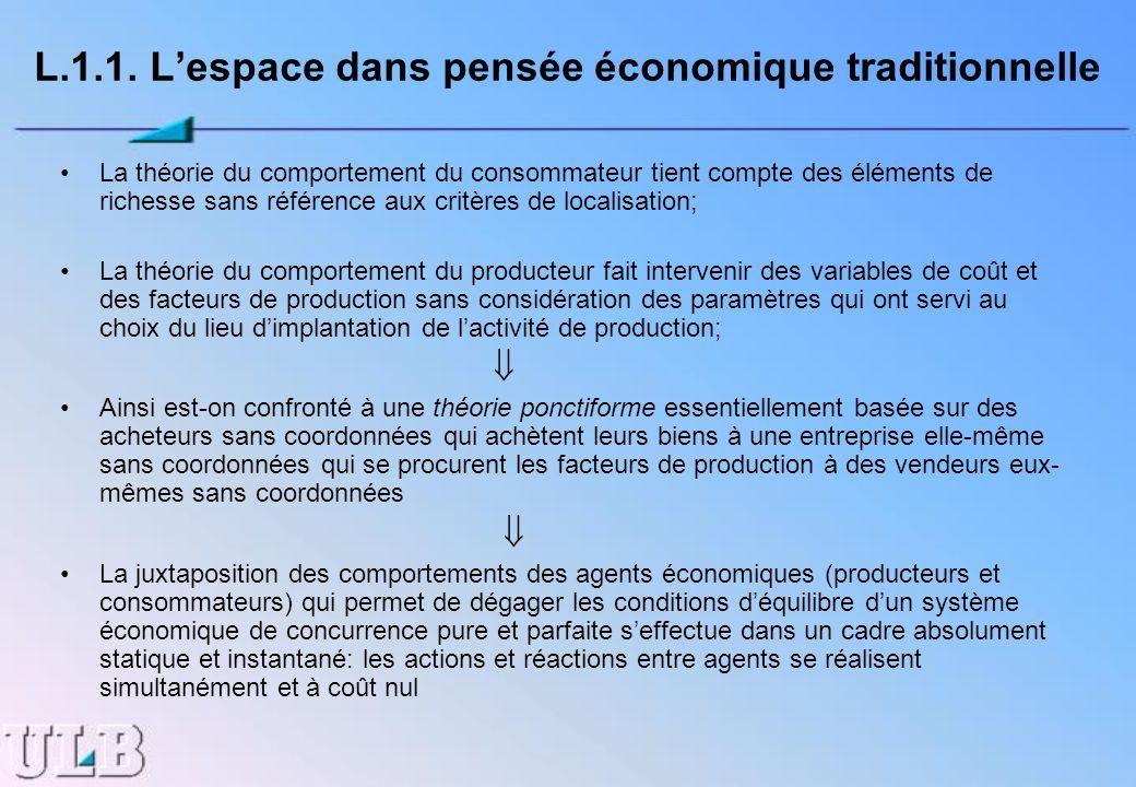 L.1.1. Lespace dans pensée économique traditionnelle La théorie du comportement du consommateur tient compte des éléments de richesse sans référence a