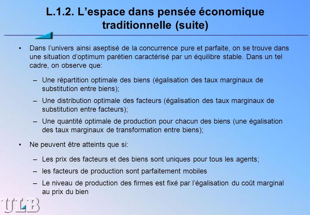 L.1.2. Lespace dans pensée économique traditionnelle (suite) Dans lunivers ainsi aseptisé de la concurrence pure et parfaite, on se trouve dans une si