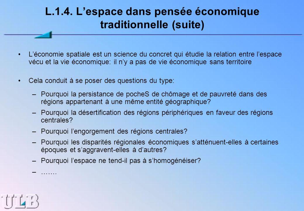 L.1.4. Lespace dans pensée économique traditionnelle (suite) Léconomie spatiale est un science du concret qui étudie la relation entre lespace vécu et