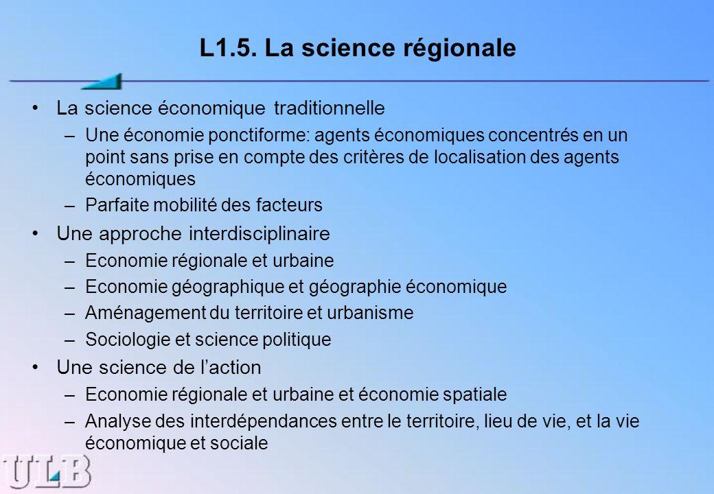 L1.5. La science régionale La science économique traditionnelle –Une économie ponctiforme: agents économiques concentrés en un point sans prise en com